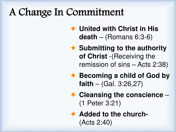 A Change In Commitment