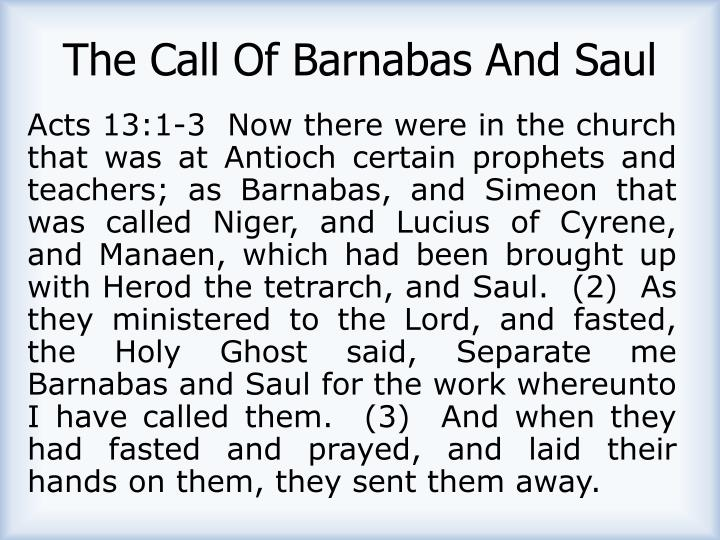The Call Of Barnabas And Saul