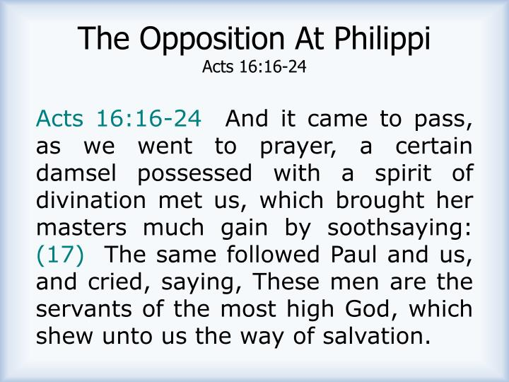 The Opposition At Philippi