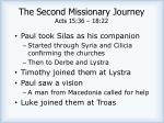 the second missionary journey acts 15 36 18 22