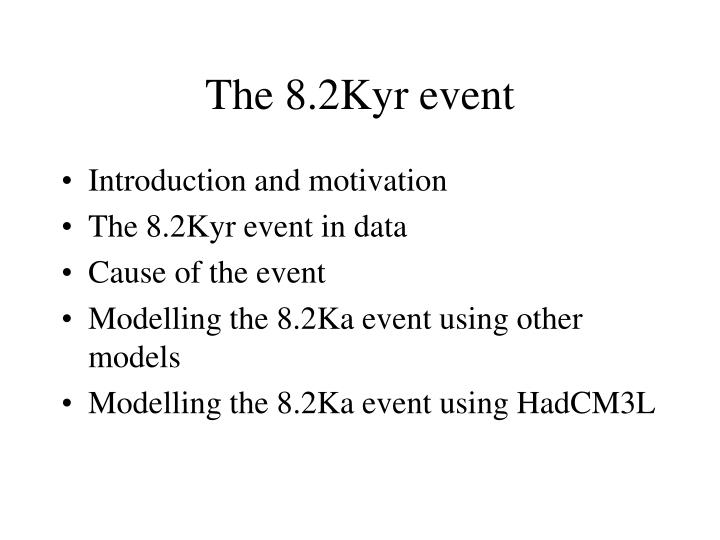 The 8.2Kyr event
