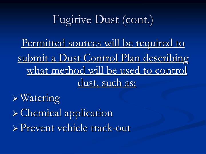 Fugitive Dust (cont.)