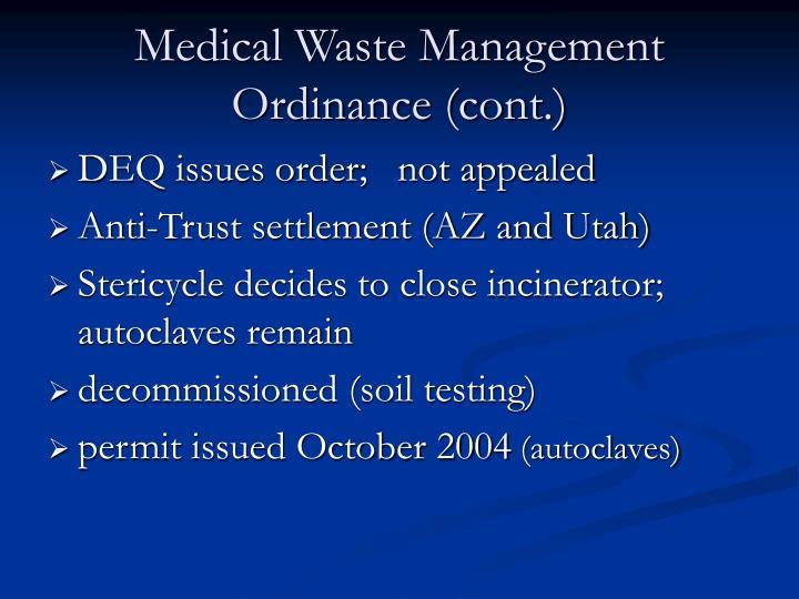 Medical Waste Management Ordinance (cont.)