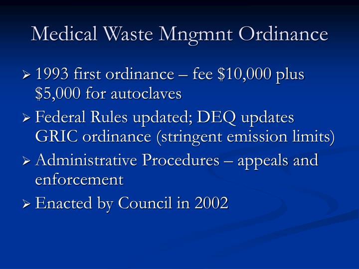 Medical Waste Mngmnt Ordinance
