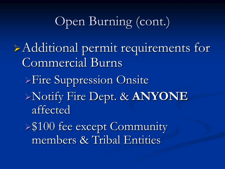 Open Burning (cont.)