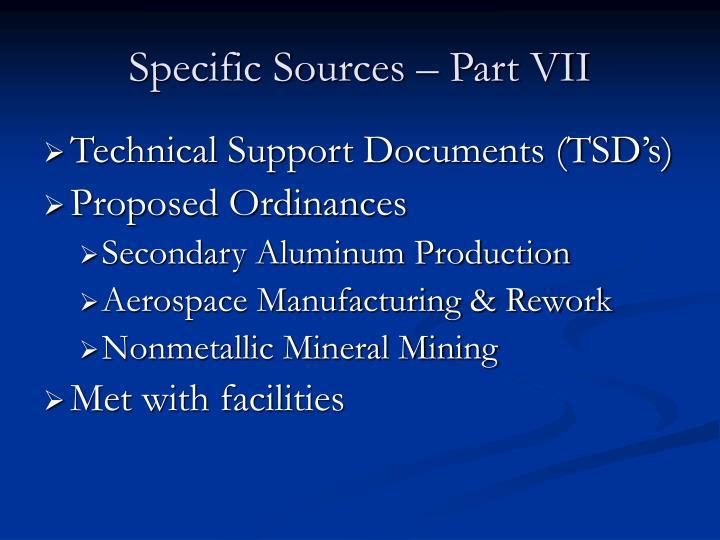 Specific Sources – Part VII