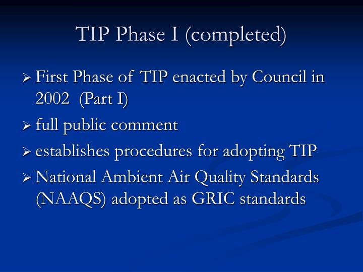 TIP Phase I (completed)