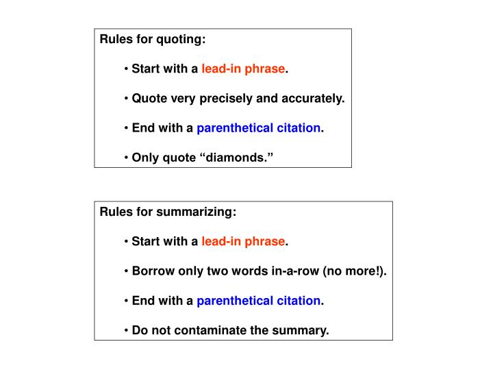 Rules for quoting: