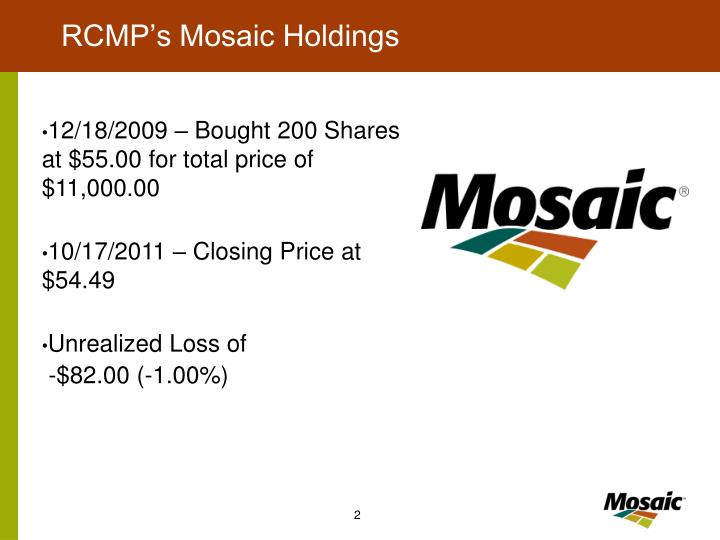 Rcmp s mosaic holdings