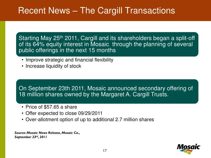 Recent News – The Cargill Transactions