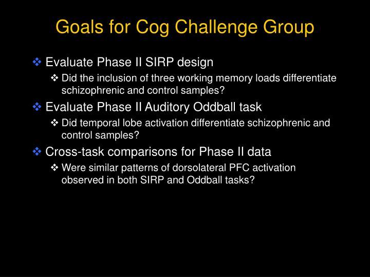 Goals for Cog Challenge Group