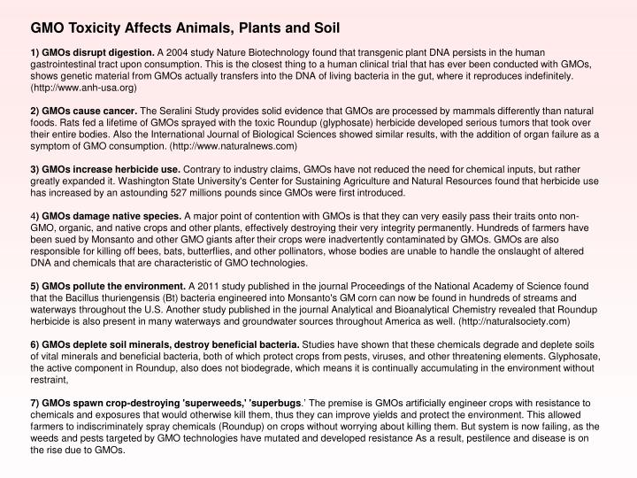 GMO Toxicity Affects Animals, Plants and Soil