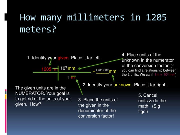 How many millimeters in 1205 meters?