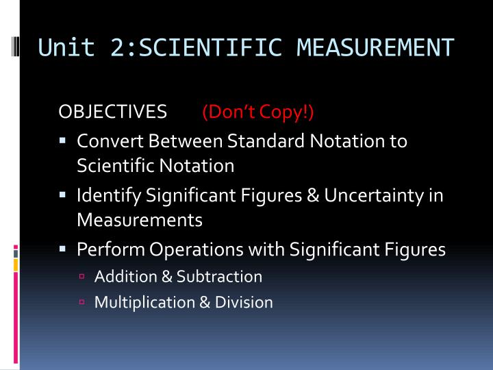 Unit 2 scientific measurement