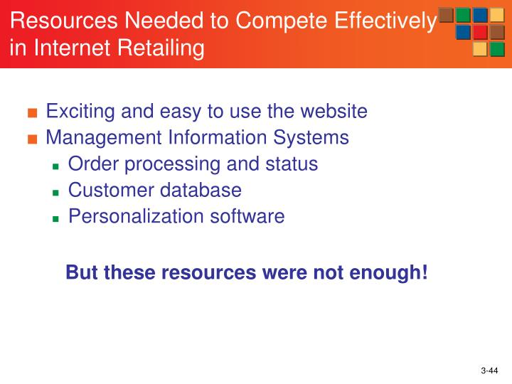 Resources Needed to Compete Effectively in Internet Retailing