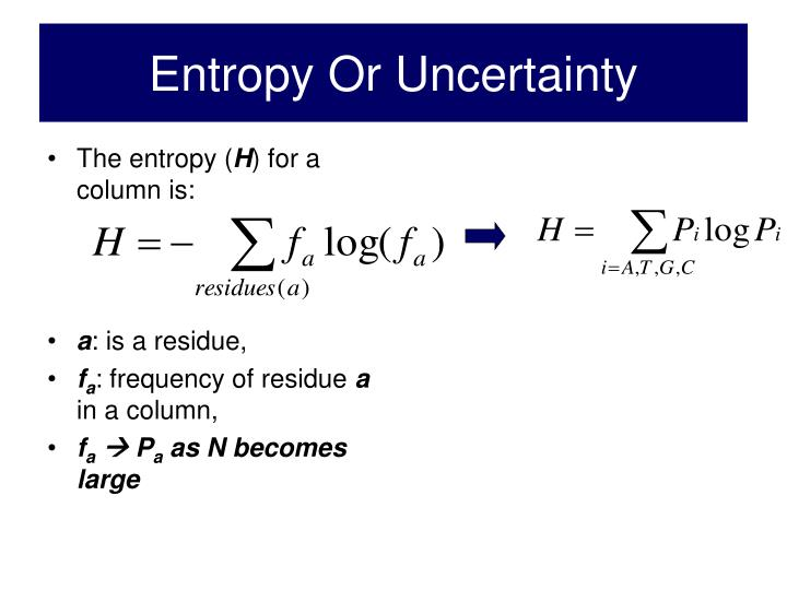 Entropy Or Uncertainty