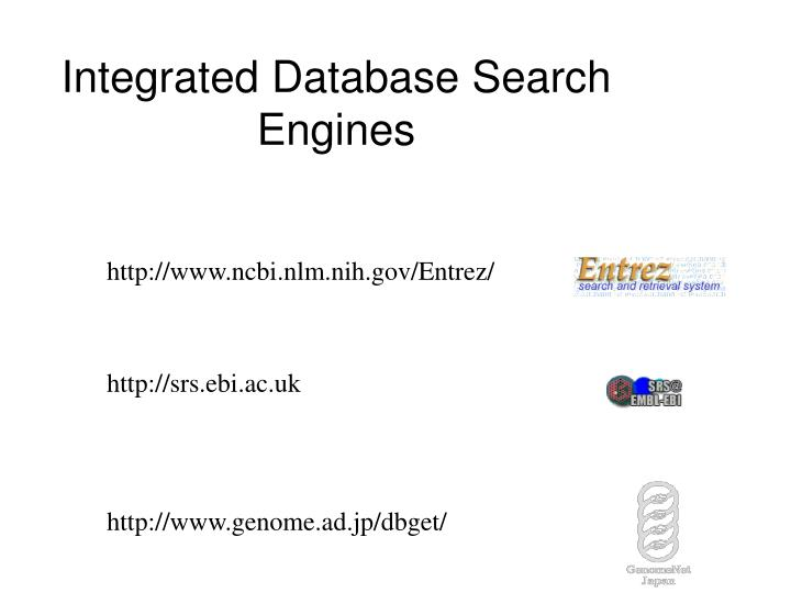 Integrated Database Search Engines