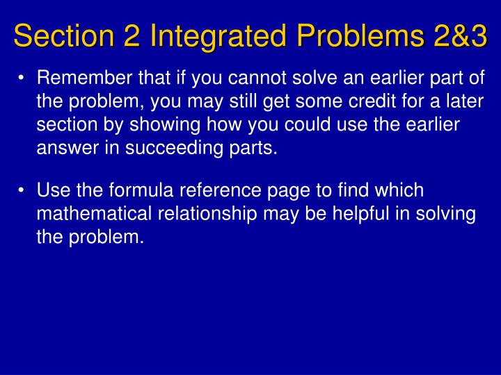 Section 2 Integrated Problems 2&3