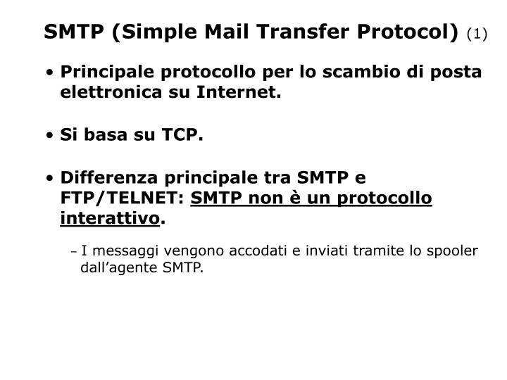 SMTP (Simple Mail Transfer Protocol)  (1) - PowerPoint PPT Presentation