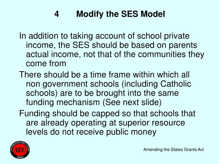 4	Modify the SES Model