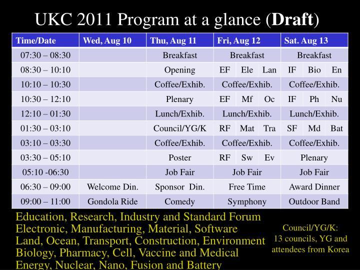 UKC 2011 Program at a glance (