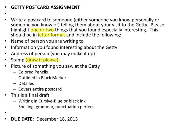 GETTY POSTCARD ASSIGNMENT