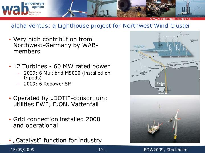 alpha ventus: a Lighthouse project for Northwest Wind Cluster