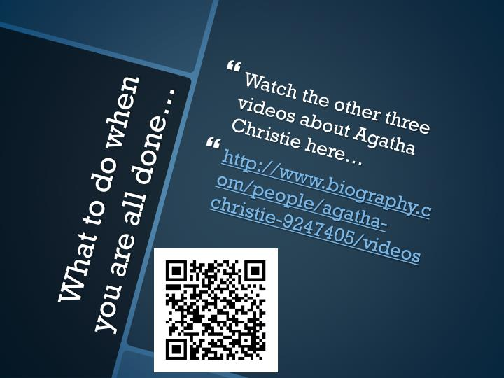 Watch the other three videos about Agatha Christie here…