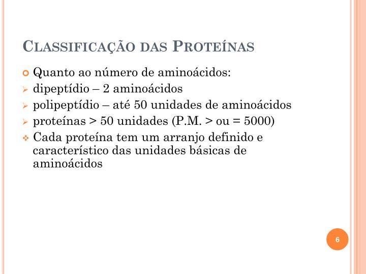 Classificação das Proteínas