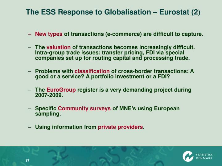The ESS Response to Globalisation – Eurostat (2
