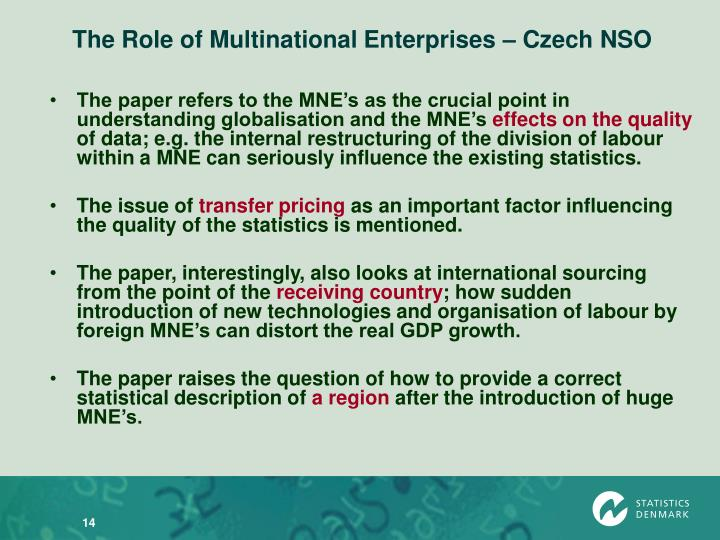 The Role of Multinational Enterprises – Czech NSO