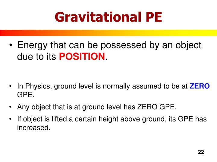 Gravitational PE