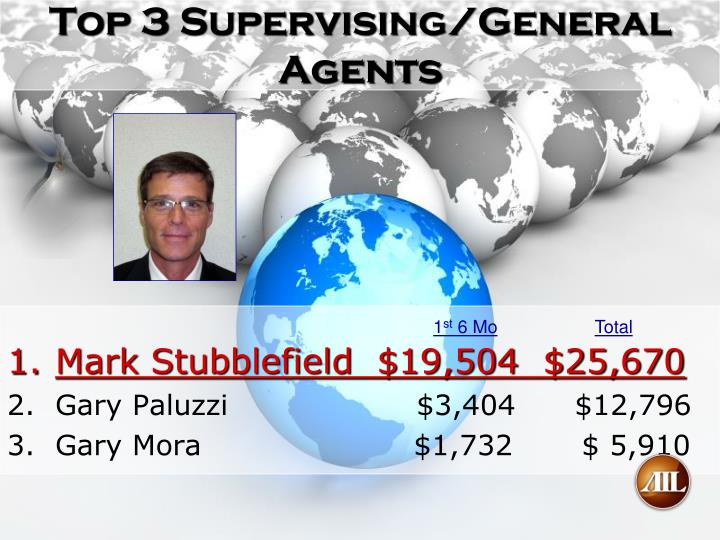 Top 3 supervising general agents