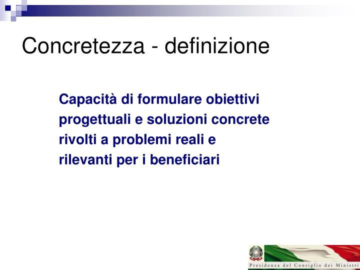 Concretezza - definizione