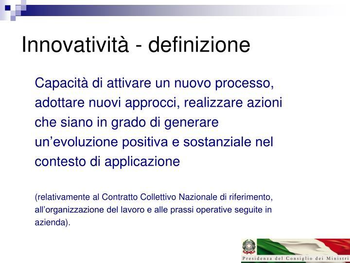 Innovatività - definizione