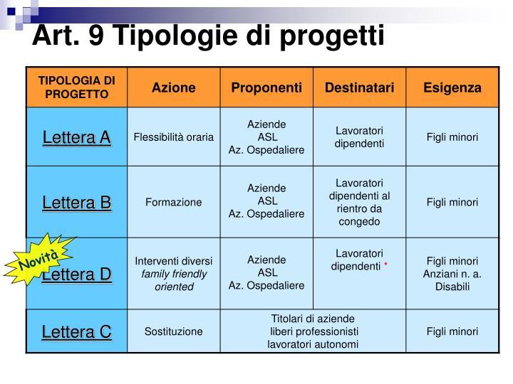 Art. 9 Tipologie di progetti