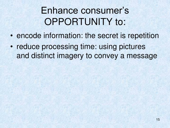 Enhance consumer's OPPORTUNITY to: