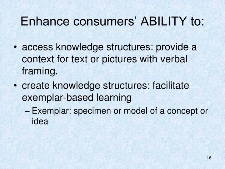 Enhance consumers' ABILITY to: