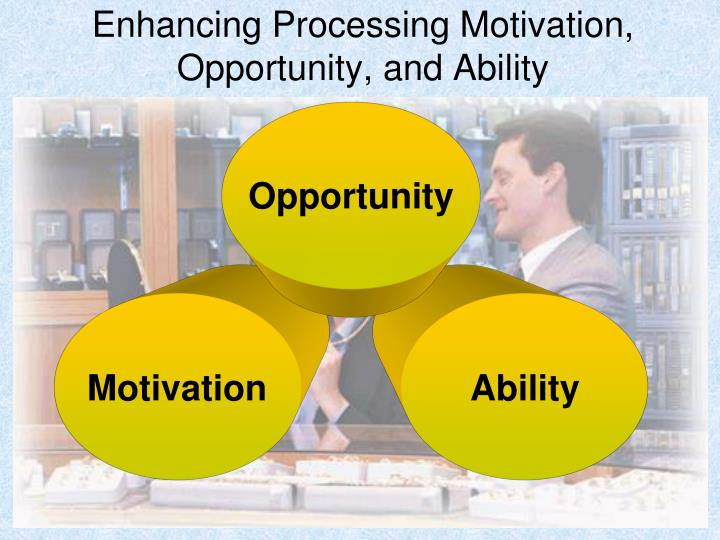 Enhancing processing motivation opportunity and ability