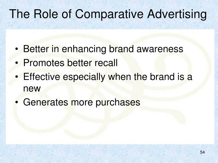 The Role of Comparative Advertising