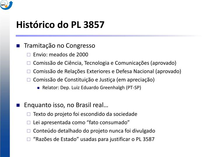 Histórico do PL 3857