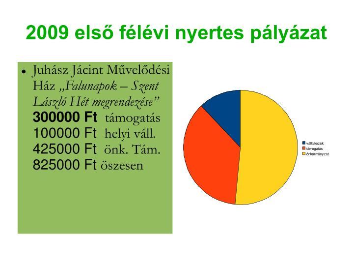 2009 első félévi nyertes pályázat
