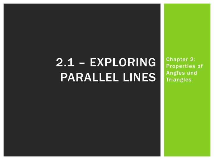 2.1 – Exploring parallel lines