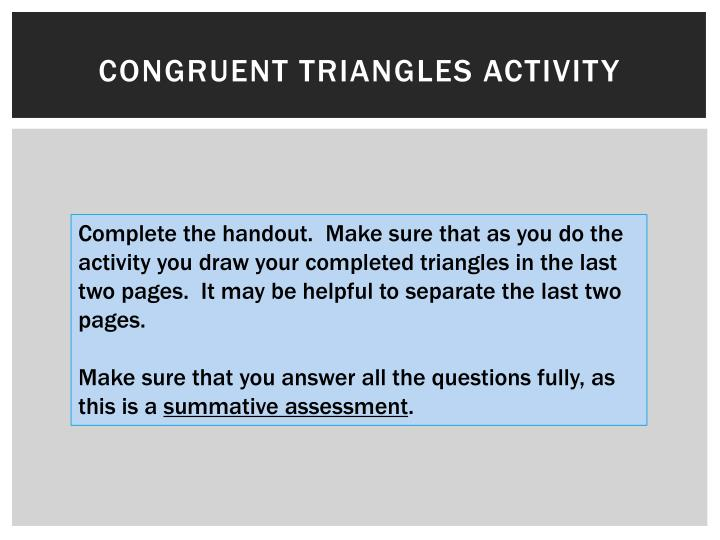 Congruent triangles activity
