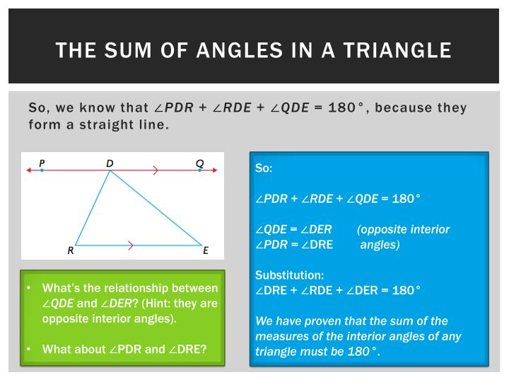 The sum of angles in a triangle