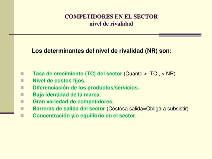 COMPETIDORES EN EL SECTOR