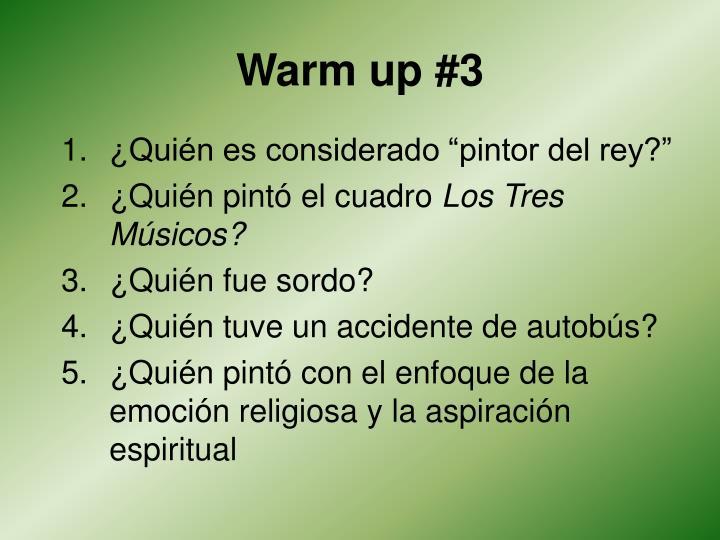 Warm up #3