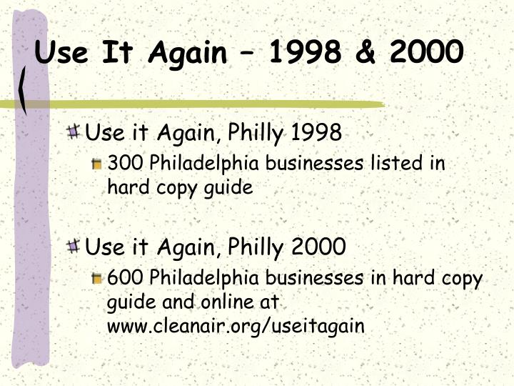 Use It Again – 1998 & 2000