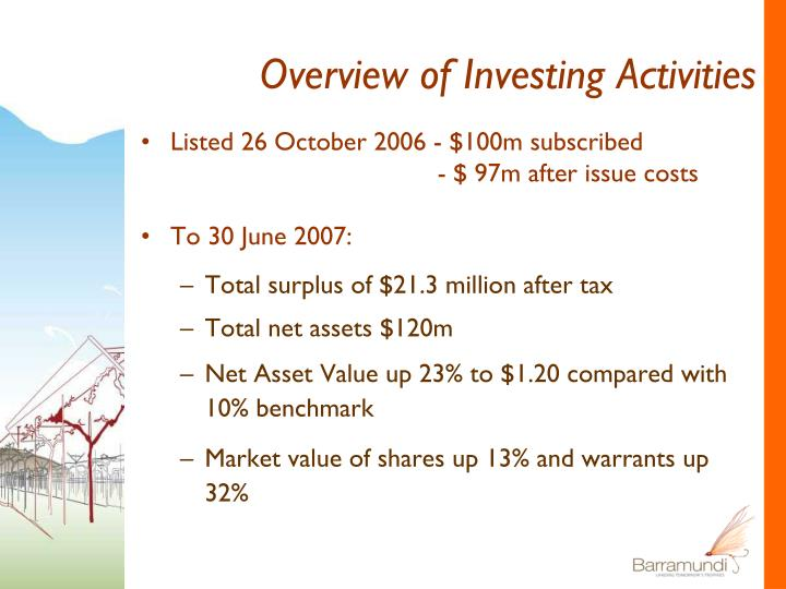 Overview of Investing Activities