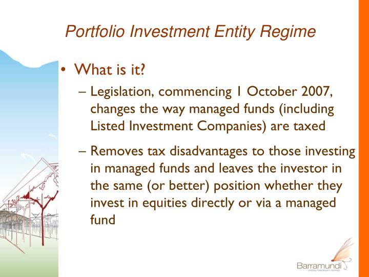 Portfolio Investment Entity Regime